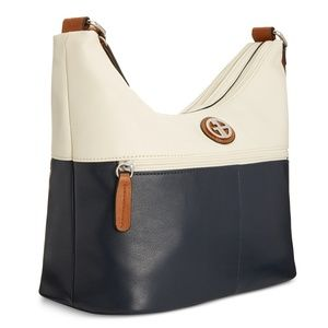 Giani Bernini Leather Bucket Hobo Bag Ivory & Navy